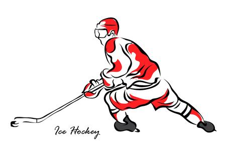 Vector illustration. Illustration shows a hockey player in attack. Ice Hockey