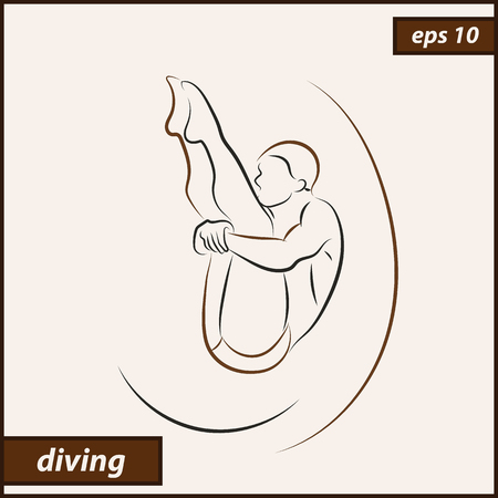 Vector illustration. Illustration shows a athlete performs acrobatic moves. Sport. Diving