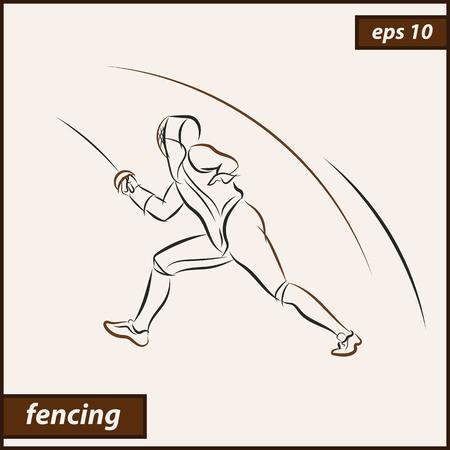Vector illustration. Illustration shows a fencer in attack. Sport. Fencing