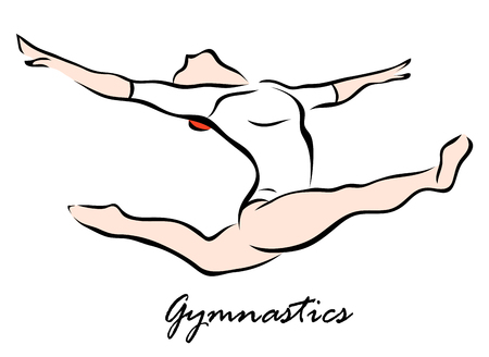 A Vector illustration that shows a Gymnast performing exercises. Gymnastics