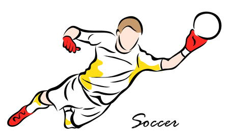 Vector illustration. Illustration shows a soccer goalkeeper catches the ball