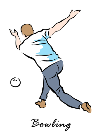 A Vector illustration that shows a player throwing ball. Bowling