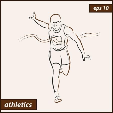 Vector illustration. Illustration shows a athlete. Running man. Sport. Athletics Illustration
