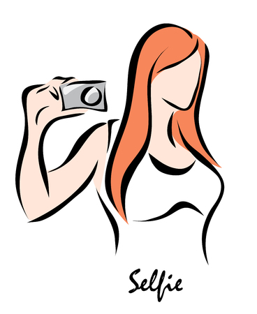 Vector illustration. Illustration shows a girl takes on the camera. Selfies Illustration