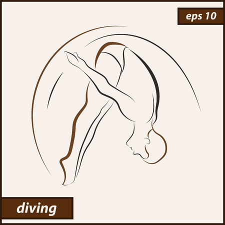 A Vector illustration that shows an athlete performs acrobatic moves. Sport. Diving