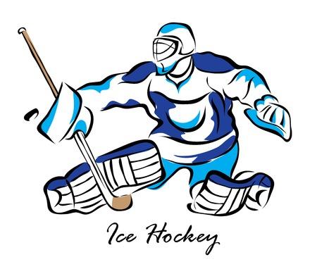 Illustration vectorielle. Illustration montre un gardien de but de hockey en action. Hockey sur glace Banque d'images - 78823666