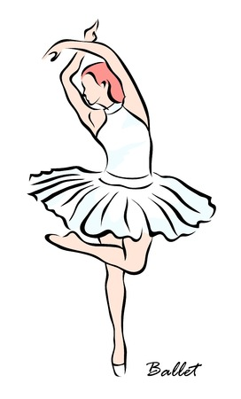 A vector illustration that shows a the girl is engaged in ballet