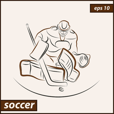 health and fitness: A vector illustration that shows a hockey goalkeeper in action. Ice Hockey