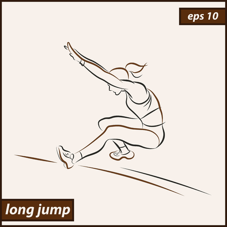 Vector illustration. Illustration shows a athlete performs the long jump. Sport. Long jump Illustration