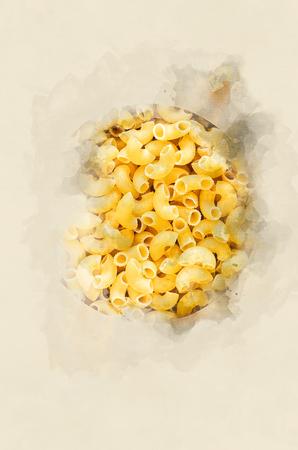 durum: Macaroni durum. Watercolor background
