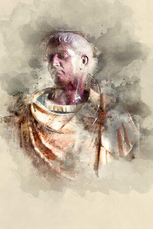 율리우스 카이사르 대리석 기념물. 수채화 배경