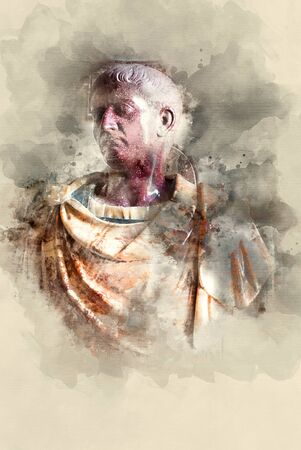 Julius Caesar Marble monument. Watercolor background