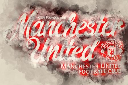 """DZERZHINSK, RUSLAND - APRIL 08, 2016: het embleem van de voetbalclub """"Manchester United"""" op officiële Jersey. Aquarel achtergrond"""