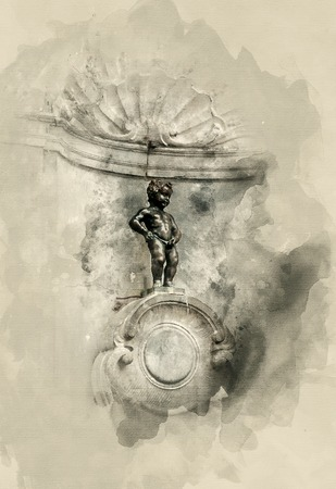 Sights France. Photo sketches. Manneken Pis. Watercolor background Stock Photo