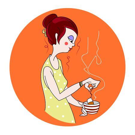 beautiful girl makes tea. vector background Stock Photo