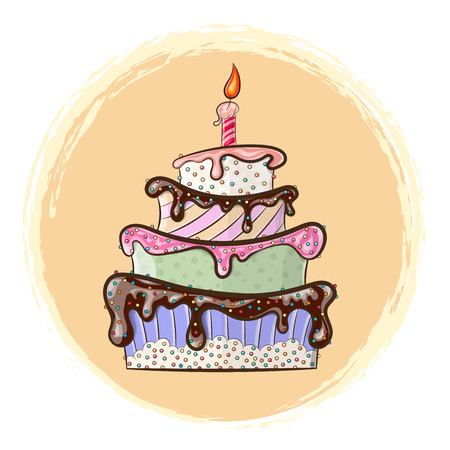 Vector illustration shows beautiful festive cake with a candle
