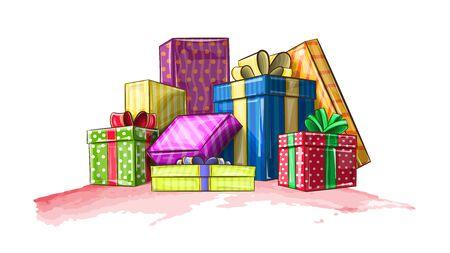 Vectorillustratie toont kleurrijke vakken met geschenken voor de vakantie Vector Illustratie