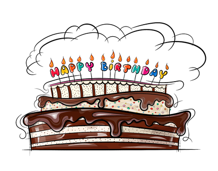 Vector illustration shows beautiful festive cake with birthday candles