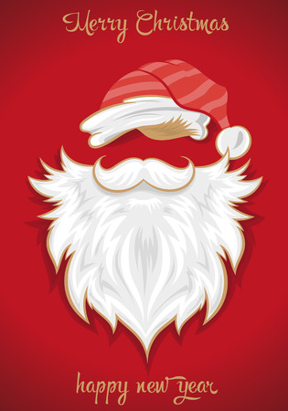 Vector illustration shows New Year and Christmas card. Santa Claus. Christmas background Ilustração