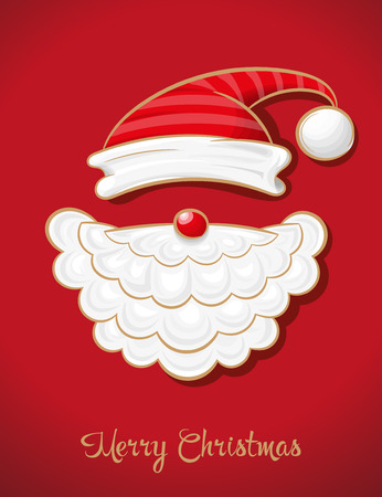 Vector illustration shows New Year and Christmas card. Santa Claus. Christmas background. Ilustração