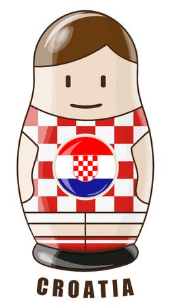 Vector illustration. Football tournament 2018. Flag of Croatia. logo for the summer soccer championship. Russian nesting doll.