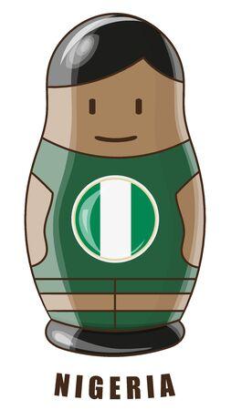 Vector illustration. Football tournament 2018. Flag of Nigeria. logo for the summer soccer championship. Russian nesting doll. Illustration