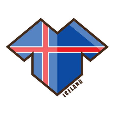 Vector illustration. Football tournament 2018. Flag of Iceland. Illustration