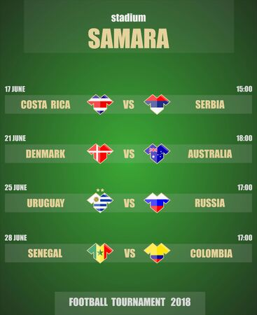 Vector illustration. Football  soccer tournament 2018. Stadium SAMARA. Teams and date of matches. Sports T-shirt flags