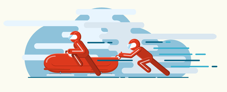 Vector illustration. Winter sport of bobsleigh. Extreme