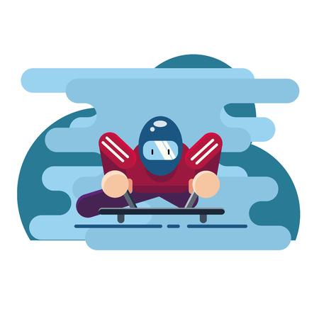 Vector illustration. Winter sport of Skeleton. Luge sport. Extreme Illustration