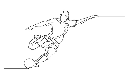 Continuous line drawing. Illustration shows a football player kicks the ball. Soccer. Vector illustration