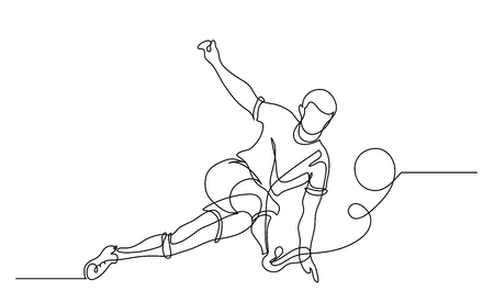 Dessin au trait continu. L'illustration montre un joueur de football botter le ballon. Football. Illustration vectorielle
