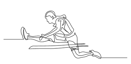 Continuous line drawing. Illustration shows a athlete. Running man. Hurdle race. Sport. Athletics. Vector illustration Vettoriali