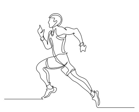 Continuous line drawing. Illustration shows a athlete. Running man. Sport. Athletics. Vector illustration