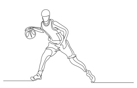 Continuous line drawing. Illustration shows a basketball player in the attack. Sport. Basketball. Vector illustration Иллюстрация