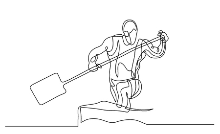 Continuous line drawing. Illustration shows a athlete rowing paddle canoe. Sport. Canoeing. Vector illustration