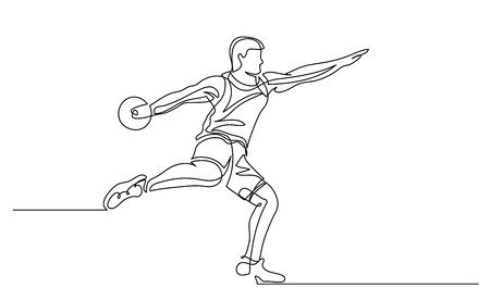 Continuous line drawing. Illustration shows a athlete throwing disc. Sport. Discus. Vector illustration