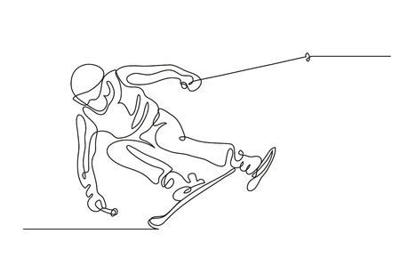 Continuous line drawing. Illustration shows a Alpine skier skiing downhill. Winter sport. Extreme. Vector illustration