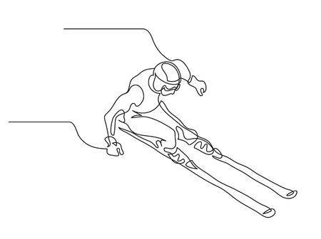 연속 선 그리기. 그림 내리막 스키 알파인 스키어를 보여줍니다. 겨울 스포츠. 극단. 벡터 일러스트 레이 션 일러스트