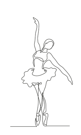 Continuous line drawing. Illustration shows a Ballerina in motion. Art. Ballet. Vector illustration 向量圖像