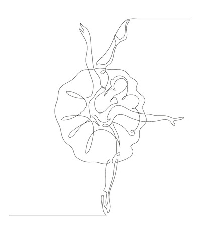 Continuous line drawing. Illustration shows a Ballerina in motion. Art. Ballet. Vector illustration Illustration