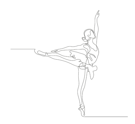 Continuous line drawing. Illustration shows a Ballerina in motion. Art. Ballet. Vector illustration Stock Illustratie