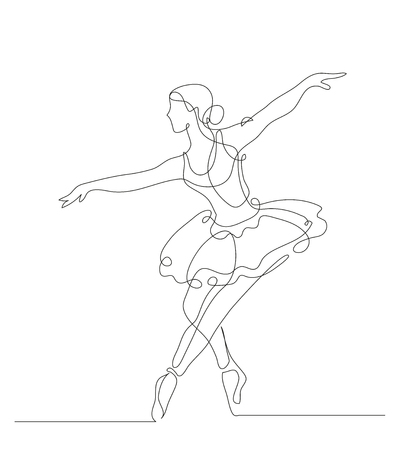 Continuous line drawing. Illustration shows a Ballerina in motion. Art. Ballet. Vector illustration Çizim