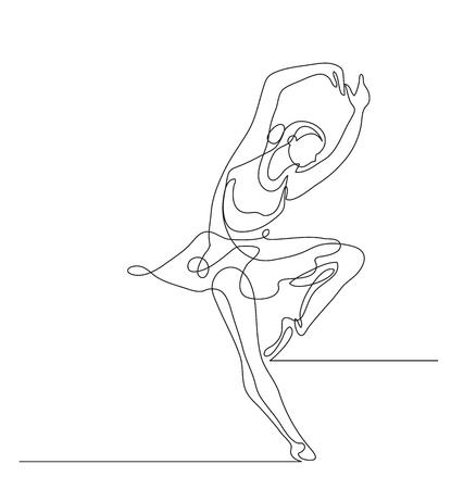 Continuous line drawing. Illustration shows a Ballerina in motion. Art. Ballet. Vector illustration Illustration