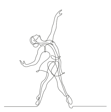 Continuous line drawing. Illustration shows a Ballerina in motion. Art. Ballet. Vector illustration Ilustração