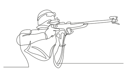 Continuous line drawing. Illustration shows a biathlete shoots from a rifle. Winter sports. Biathlon. Vector illustration Illustration