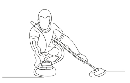 Continuous line drawing. Illustration shows a athlete playing curling. Curling. Winter sport. Vector illustration