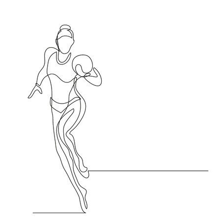 Continuous line drawing. Illustration shows a Gymnast performing exercises. Acrobatics. Vector illustration Illustration