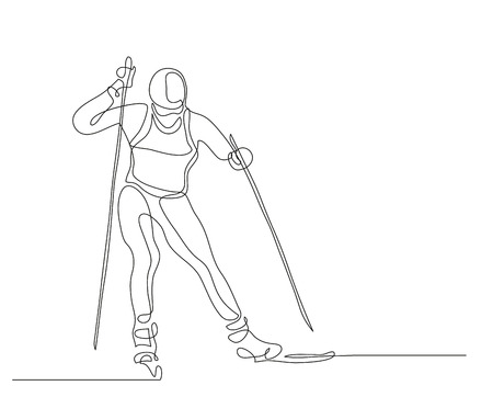 Continuous line drawing. Illustration shows a athlete runs on skis. Cross country skiing. Winter sport. Vector illustration Illustration