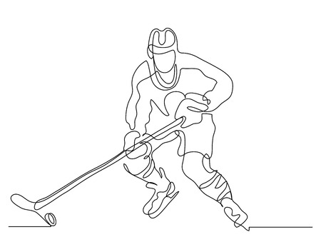Continuous line drawing. Illustration shows a hockey player in attack. Ice Hockey. Vector illustration Çizim